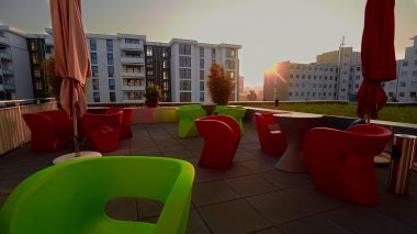 Unsere Terrasse beim Sonnenuntergang